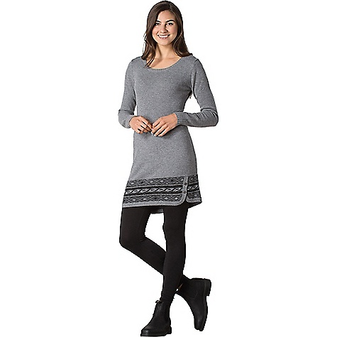 Toad & Co Women's Aleutia Sweaterdress Smoke Heather Toad & Co Women's Aleutia Sweaterdress - Smoke Heather - in stock now. FEATURES of the Toad & Co Women's Aleutia Sweaterdress Open crew neck Jersey knit stitch Jacquard pattern lower panel Rib-knit neckline, hem and sleeve cuffs Asymetrical button placket at hem Certified non-mulesed