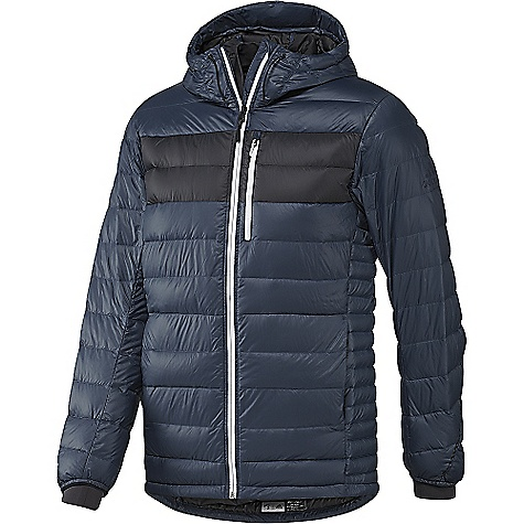 Adidas Men's Climaheat Frost Hooded Jacket Mineral Blue / Utility Black Adidas Men's Climaheat Frost Hooded Jacket - Mineral Blue / Utility Black - in stock now. FEATURES of the Adidas Men's Climaheat Frost Hooded Jacket Heat seals at neck and cuffs lock heat to the body Heat seals baffles every other baffle covers stitching lines