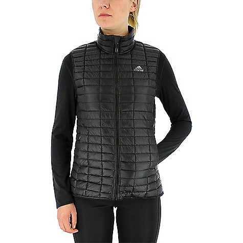 Adidas Women's Flyloft Vest Black / Utility Black Adidas Women's Flyloft Vest - Black / Utility Black - in stock now. FEATURES of the Adidas Women's Flyloft Vest Synthetic down insulation lightweight filling for warmth and comfort Zip hand pockets and internal security pocket to keep all belongings safe Ultra lightweight material for best packability and protection Elastic waist hem with drawcords and belt loops