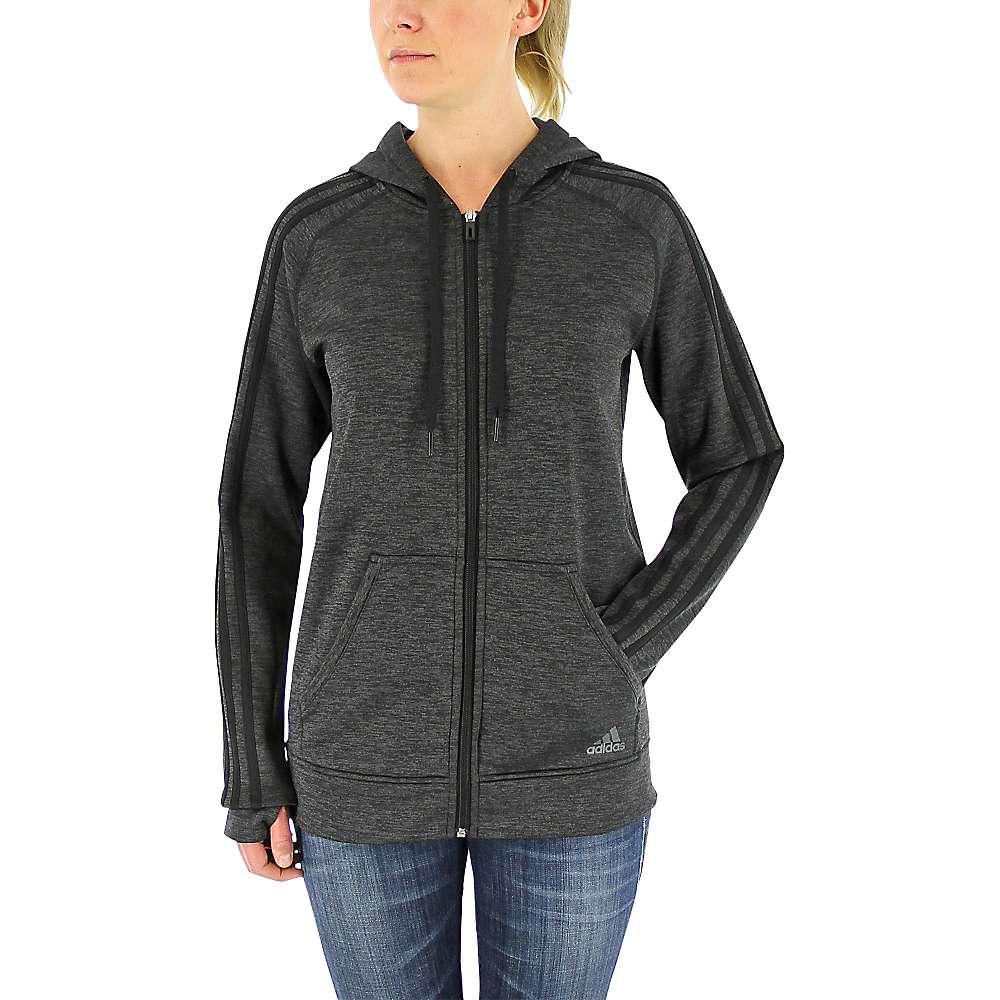 Adidas Women's Team Issue Fleece 3 Stripe Full Zip Hoody - Small - Black / Col.Ored Heather