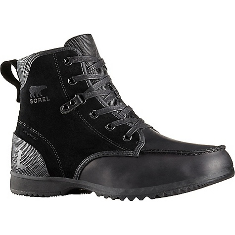 Sorel Men's Ankeny Moc Toe Boot Black Sorel Men's Ankeny Moc Toe Boot - Black - in stock now. FEATURES of the Sorel Men's Ankeny Moc Toe Boot Heel cup and arch support for all-day comfort Seam-sealed waterproof construction Textile mesh lining