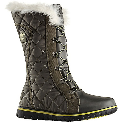 Sorel Women's Cozy Cate Boot Peatmoss / Gingko Sorel Women's Cozy Cate Boot - Peatmoss / Gingko - in stock now. FEATURES of the Sorel Women's Cozy Cate Boot Upper: Waterproof quilted nylon upper Waterproof breathable membrane construction Fleece lining 100g insulation Footbed: Removable EVA footbed, microfleece topcover Midsole: Outsole grade EVA Outsole: Outsole grade EVA with molded rubber pods