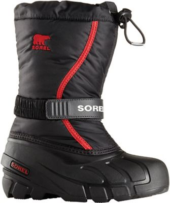 Sorel Youth Flurry Boot - Black / Bright Red