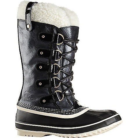 Sorel Joan Of Arctic Holiday Boot Black / Monument Sorel Joan Of Arctic Holiday Boot - Black / Monument - in stock now. FEATURES of the Sorel Joan Of Arctic Holiday Boot Crafted of full-grain waterproof leather with a subtle metallic sheen and cozy shearling cuff Removable 6 mm recycled felt inner boot