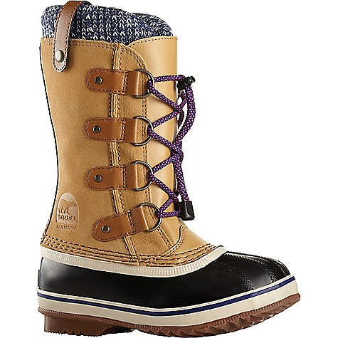 Sorel Youth Joan Of Arctic Knit Boot Curry Sorel Youth Joan Of Arctic Knit Boot - Curry - in stock now. FEATURES of the Sorel Youth Joan Of Arctic Knit Boot Upper: Waterproof suede leather upper Knit cuff Seam-sealed waterproof construction Insulation: Removable 9 mm washable recycled felt innerboot Midsole: 2.5 mm bonded felt frost plug Outsole: Handcrafted rubber outsole with herringbone design