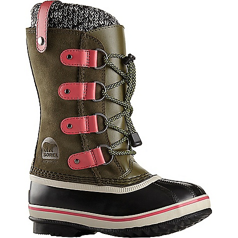 Sorel Youth Joan Of Arctic Knit Boot Nori Sorel Youth Joan Of Arctic Knit Boot - Nori - in stock now. FEATURES of the Sorel Youth Joan Of Arctic Knit Boot Upper: Waterproof suede leather upper Knit cuff Seam-sealed waterproof construction Insulation: Removable 9 mm washable recycled felt innerboot Midsole: 2.5 mm bonded felt frost plug Outsole: Handcrafted rubber outsole with herringbone design