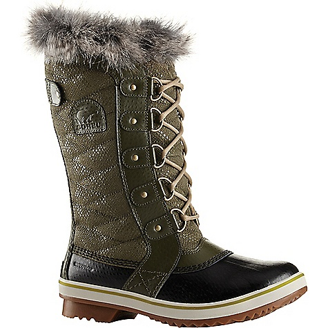 Sorel Women's Tofino II Boot Peatmoss / Black Sorel Women's Tofino II Boot - Peatmoss / Black - in stock now. FEATURES of the Sorel Women's Tofino II Boot Upper: Waterproof coated canvas upper or textile upper faux fur collar Waterproof breathable membrane construction Fleece lining 100g insulation Footbed: Removable molded EVA footbed, microfleece topcover Midsole: Rubber Outsole: Molded rubber outsole