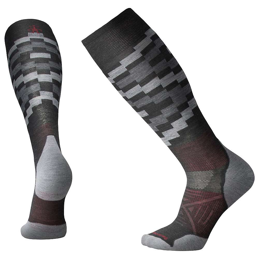 Smartwool PhD Ski Light Elite Sock - Medium - Charcoal Pattern