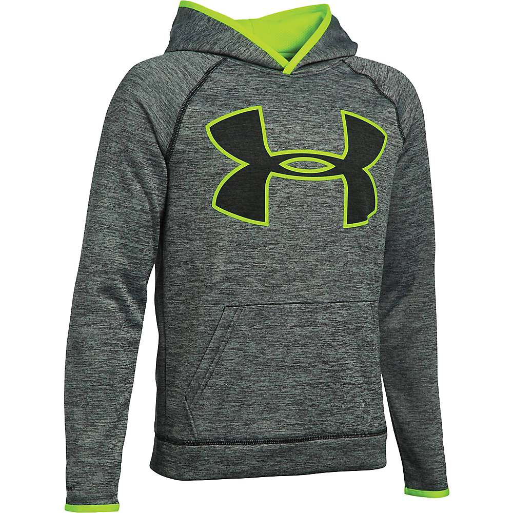 Under Armour Boys' UA Armour Fleece Storm Twist Highlight Hoodie - XS - Black / Fuel Green / Black