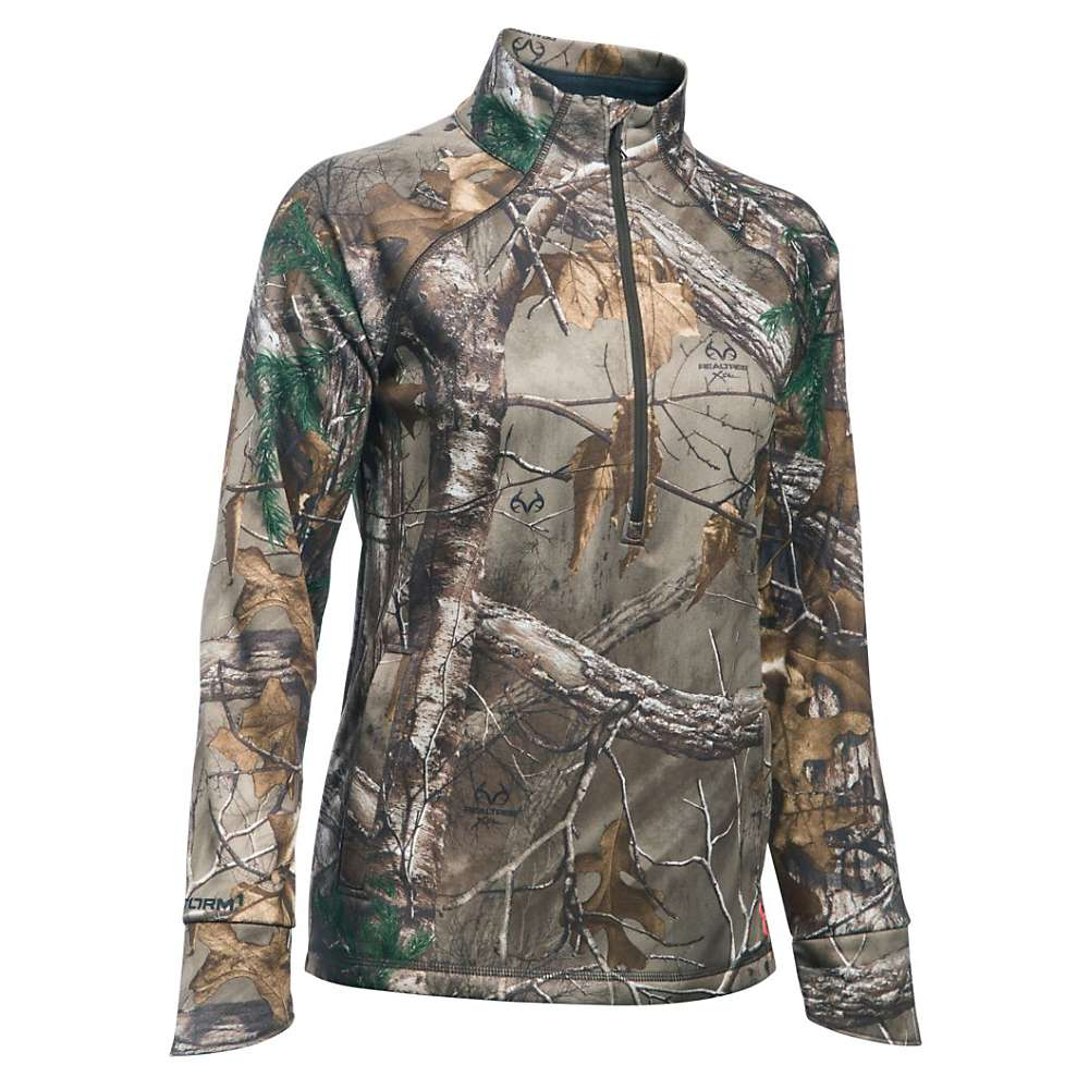 Under Armour Women's Armour Fleece Camp 1/2 Zip Top - Small - Realtree Ap-Xtra / Pink Chroma
