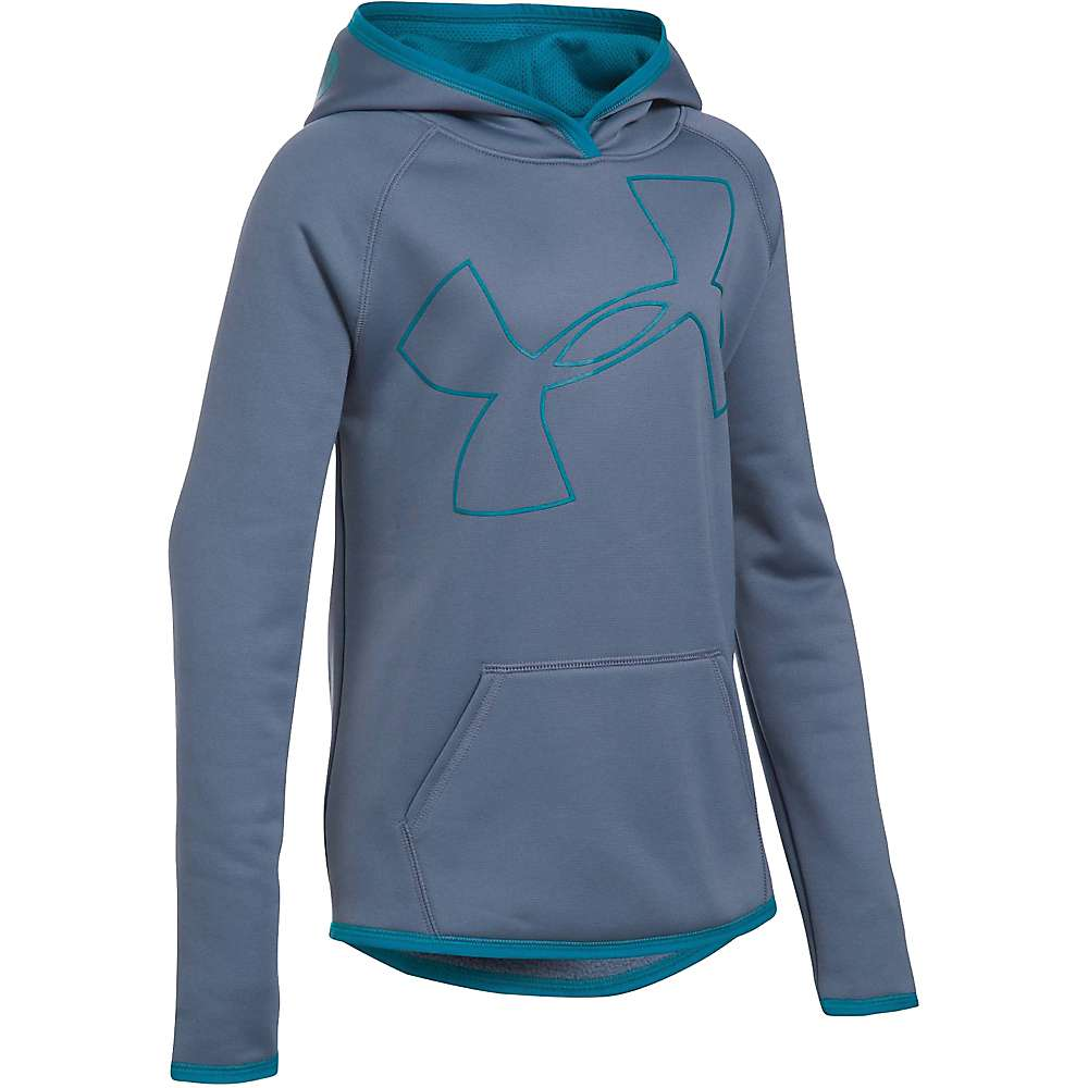 Under Armour Girl's Armour Fleece Big Logo Hoody - Small - Aurora Purple / Teal Blast