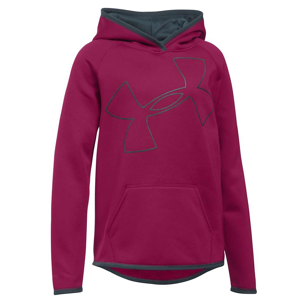 Under Armour Girl's Armour Fleece Big Logo Hoody - XL - Black Cherry / Stealth Grey