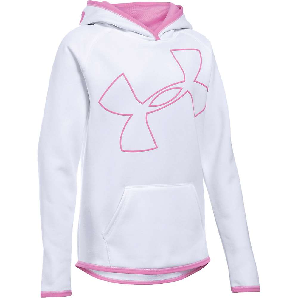 Under Armour Girl's Armour Fleece Big Logo Hoody - Small - White / Verve Violet