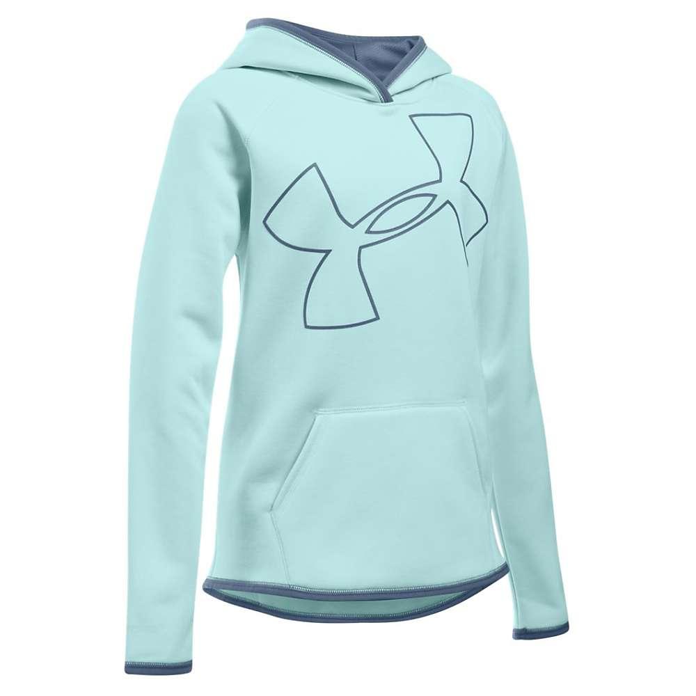 Under Armour Girl's Armour Fleece Big Logo Hoody - XS - Water / Aurora Purple / Aurora Purple