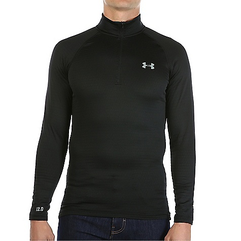 Under Armour Men's UA Base 2.0 1/4 Zip Top Black / Steel thumbnail
