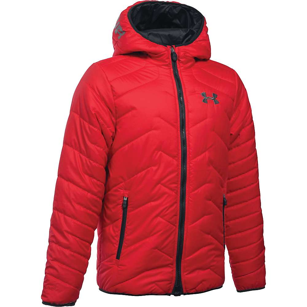 Under Armour Boy's ColdGear Reactor Hooded Jacket - Small - Red / Graphite