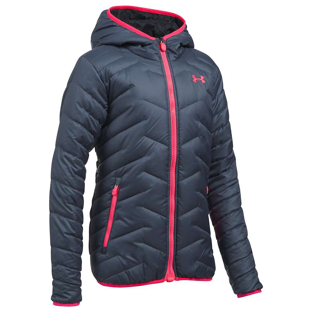 Under Armour Girls' UA ColdGear Reactor Hooded Jacket - Medium - Apollo Grey / Black / Penta Pink