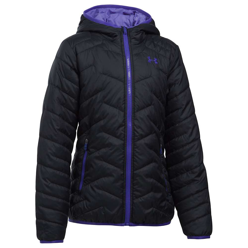 Under Armour Girls' UA ColdGear Reactor Hooded Jacket - Small - Black/Constellation Purple/Constellation Purple
