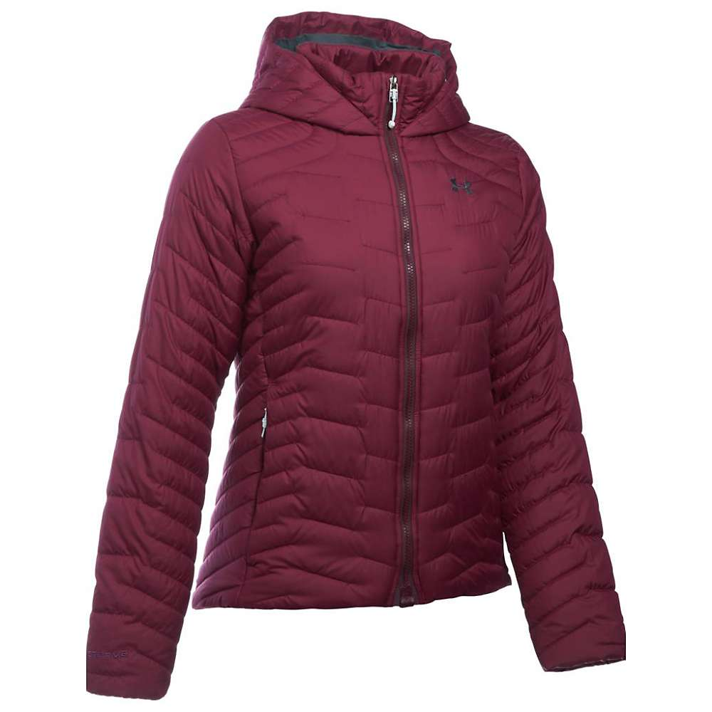 Under Armour Women's UA ColdGear Reactor Hooded Jacket - Small - Maroon / Stealth Grey