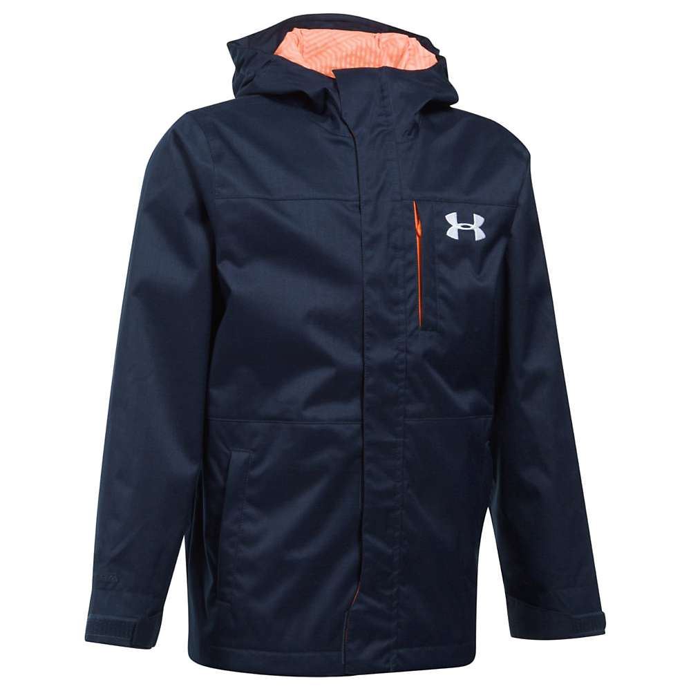Under Armour Boys' UA ColdGear Infrared Wildwood 3 In 1 Jacket - Small - Midnight Navy / Magma Orange / White