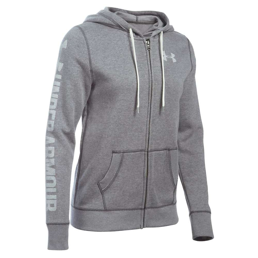 Under Armour Women's Favorite Fleece Full Zip Hoodie - Small - Carbon Heather / White