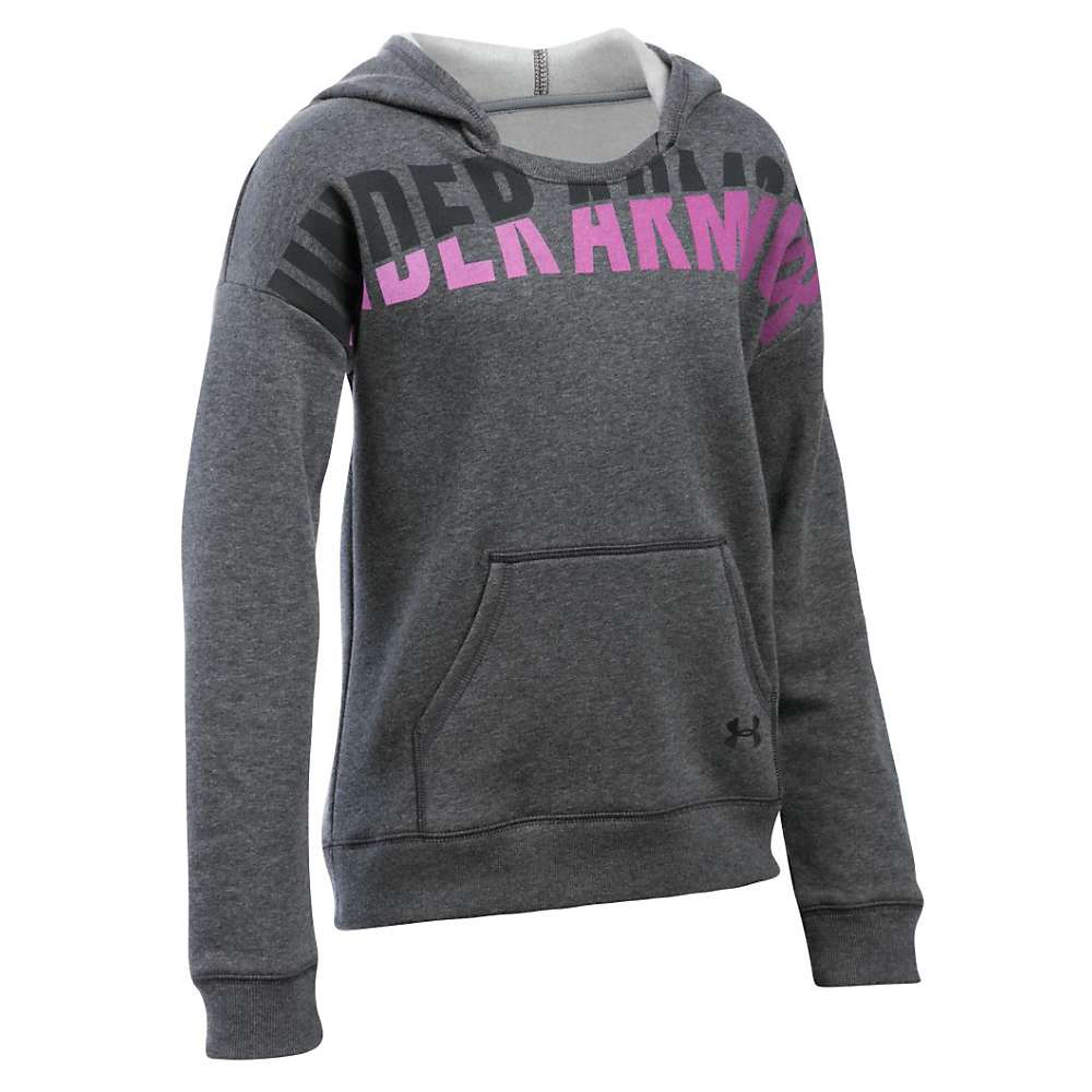 Under Armour Girl's Favorite Fleece Hoody - Small - Carbon Heather / Black