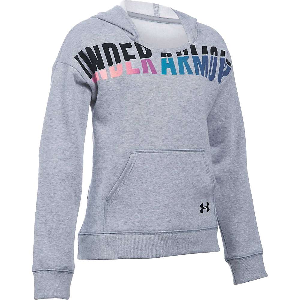 Under Armour Girl's Favorite Fleece Hoody - Large - True Grey Heather / Black