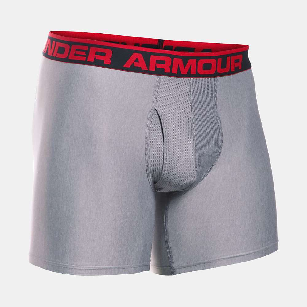 Under Armour Men's Original Series 6 Inch Boxerjock - Small - True Grey Heather / Red