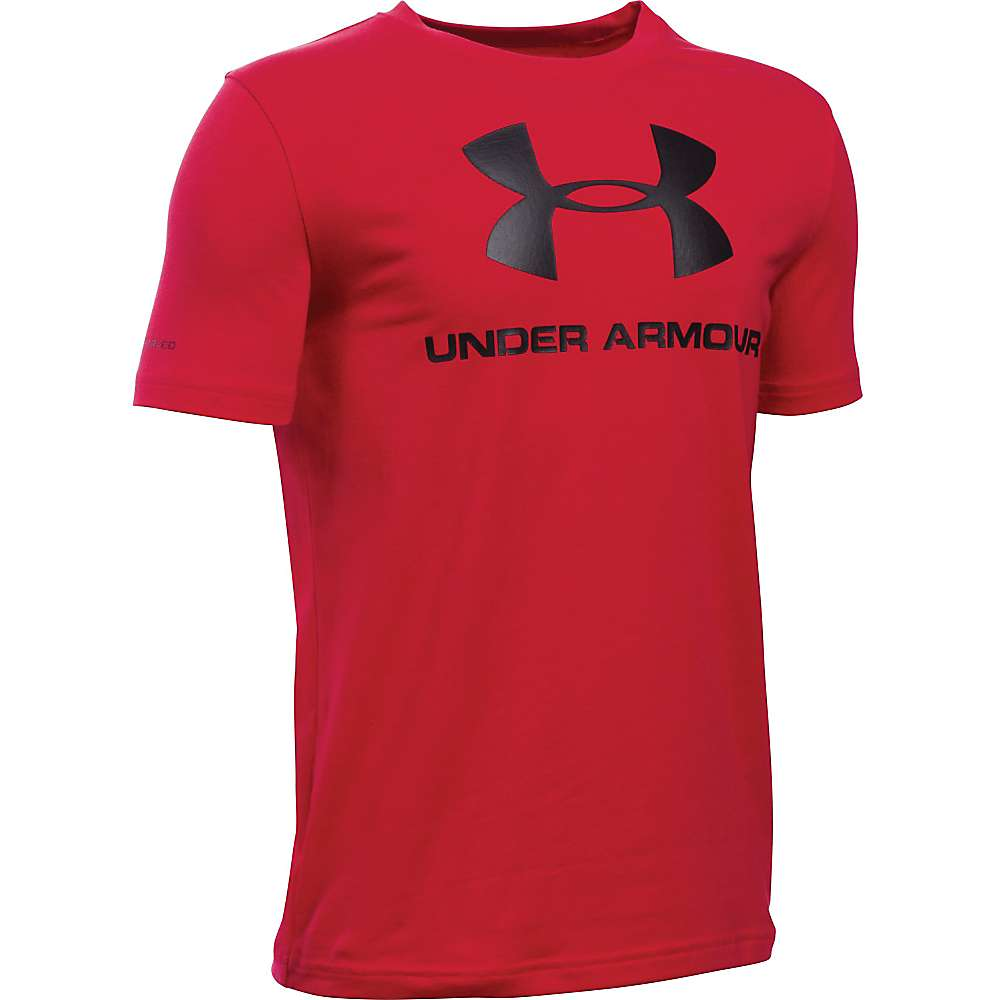 Under Armour Boy's Sportstyle Logo SS Tee - XL - Red / Black