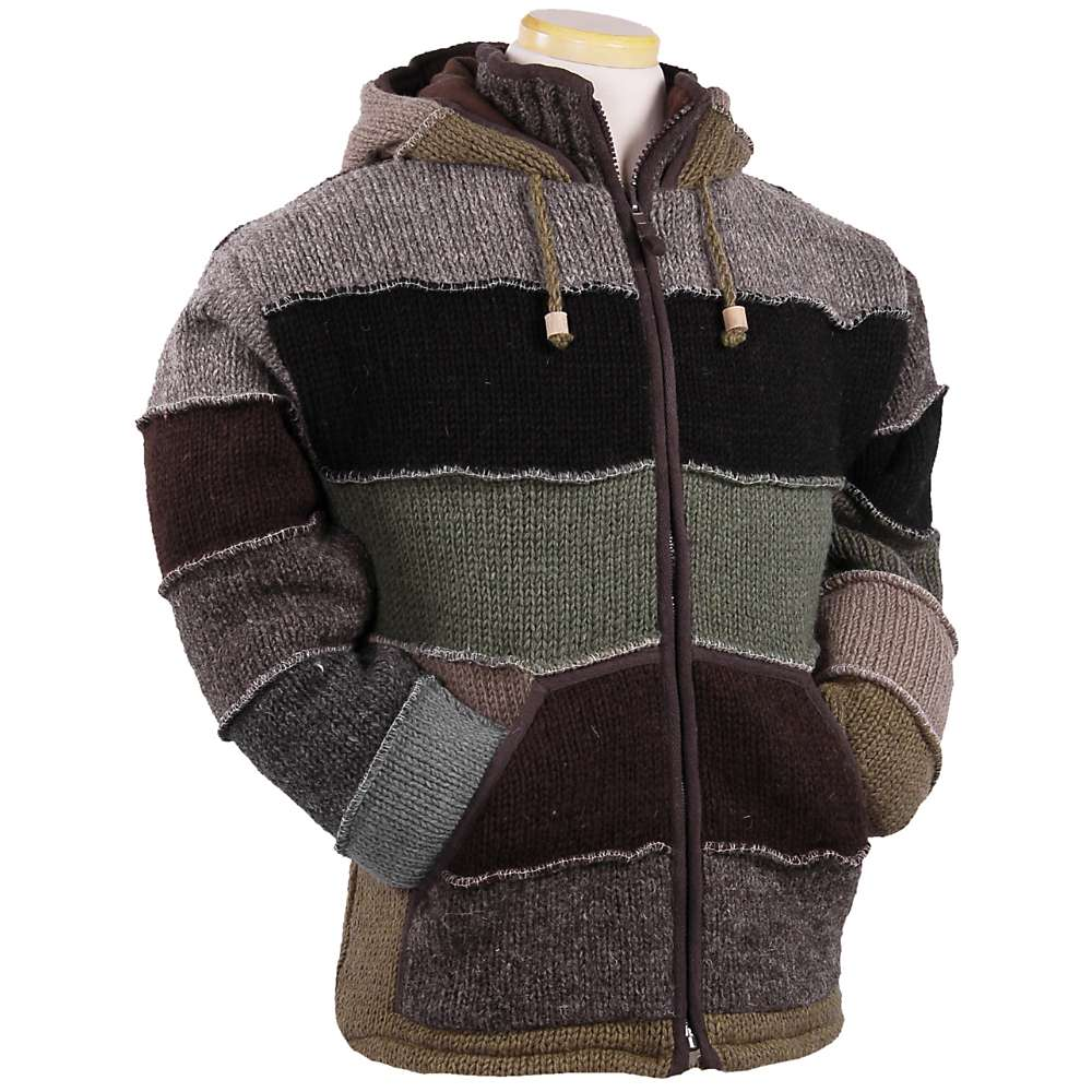 Laundromat Men 's Patchwork Fleece Lined Sweater - Large - Green