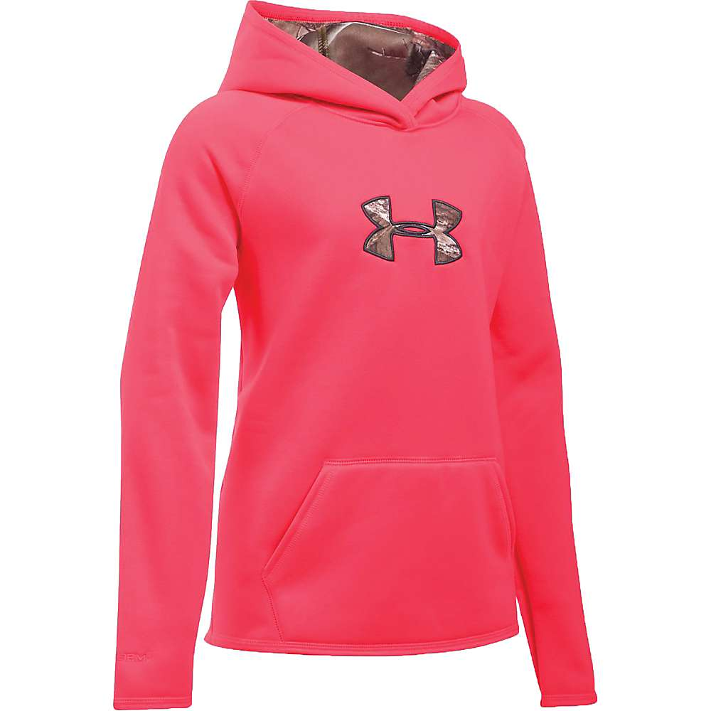 Under Armour Girl's Icon Caliber Hoodie - Large - Pink Chroma / Realtree Ap-Xtra