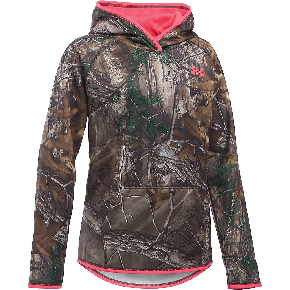 Under Armour Girl's Icon Camo Logo Hoodie - Small - Realtree Ap-Xtra / Pink Chroma