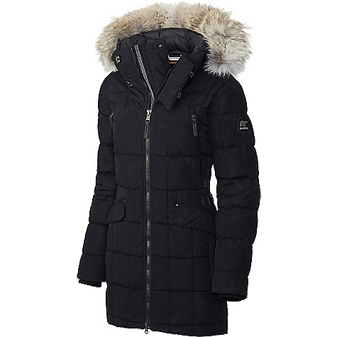 Sorel Women's Conquest Carly Parka Black Sorel Women's Conquest Carly Parka - Black - in stock now. FEATURES of the Sorel Women's Conquest Carly Parka 800 fill power goose down insulation Water resistant outer fabric Drawcord adjustable hood with removable coyote fur trim Metal hook and loop collar closure Metaluxe? zipper 2-way centerfront zipper Zippered chest and hand pockets Snap top-entry hand pockets Adjustable waist Drawcord adjustable hem keeps cold drafts off your back Internal silicone grippers Internal security pocket Rugged, reinforced stitch details Premium leather and metal logos
