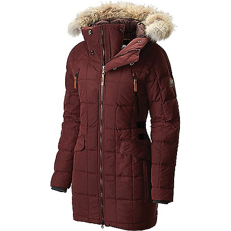 Sorel Women's Conquest Carly Parka Elderberry Sorel Women's Conquest Carly Parka - Elderberry - in stock now. FEATURES of the Sorel Women's Conquest Carly Parka 800 fill power goose down insulation Water resistant outer fabric Drawcord adjustable hood with removable coyote fur trim Metal hook and loop collar closure Metaluxe? zipper 2-way centerfront zipper Zippered chest and hand pockets Snap top-entry hand pockets Adjustable waist Drawcord adjustable hem keeps cold drafts off your back Internal silicone grippers Internal security pocket Rugged, reinforced stitch details Premium leather and metal logos