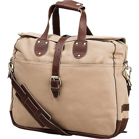 United By Blue Lakeland Laptop Bag Tan United By Blue Lakeland Laptop Bag - Tan - in stock now. FEATURES of the United By Blue Lakeland Laptop Bag Water resistant storm flap Two full width exterior slip-in pockets on front and back for quick stashing Dual carry handles can be secured together with snapping flap Removable, adjustable crossbody strap Main compartment includes quilted padded laptop sleeve with leather brass button stud closure Can accommodate up to 13in. laptop or similarly sized tablet Four interior drop pockets for electronics and accessories Three pencil holders Downpour proof - water repellent protection Vegetable tanned leather Solid brass hardware and YKK zipper