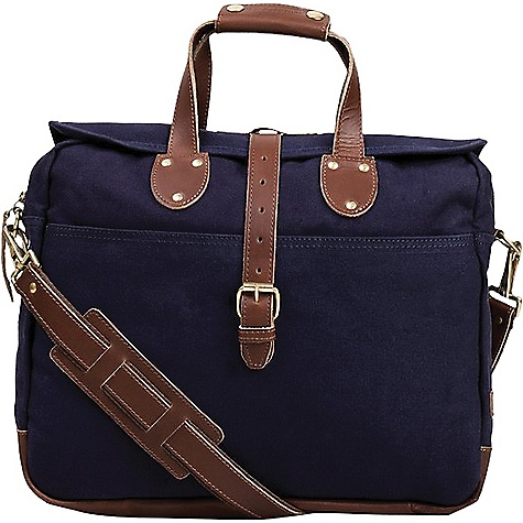 United By Blue Lakeland Laptop Bag Navy United By Blue Lakeland Laptop Bag - Navy - in stock now. FEATURES of the United By Blue Lakeland Laptop Bag Water resistant storm flap Two full width exterior slip-in pockets on front and back for quick stashing Dual carry handles can be secured together with snapping flap Removable, adjustable crossbody strap Main compartment includes quilted padded laptop sleeve with leather brass button stud closure Can accommodate up to 13in. laptop or similarly sized tablet Four interior drop pockets for electronics and accessories Three pencil holders Downpour proof - water repellent protection Vegetable tanned leather Solid brass hardware and YKK zipper