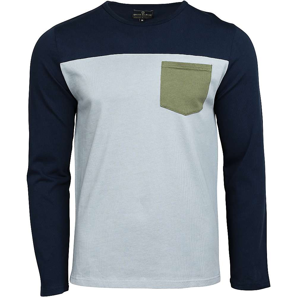United By Blue Men's Standard Colorblock Pocket LS Shirt - XL - Navy