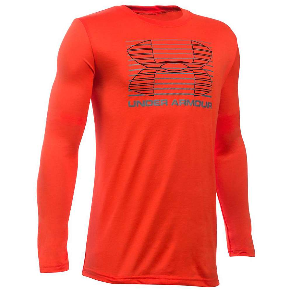 Under Armour Boys' Breakthrough Logo LS Tee - XL - Volcano / Graphite / Black