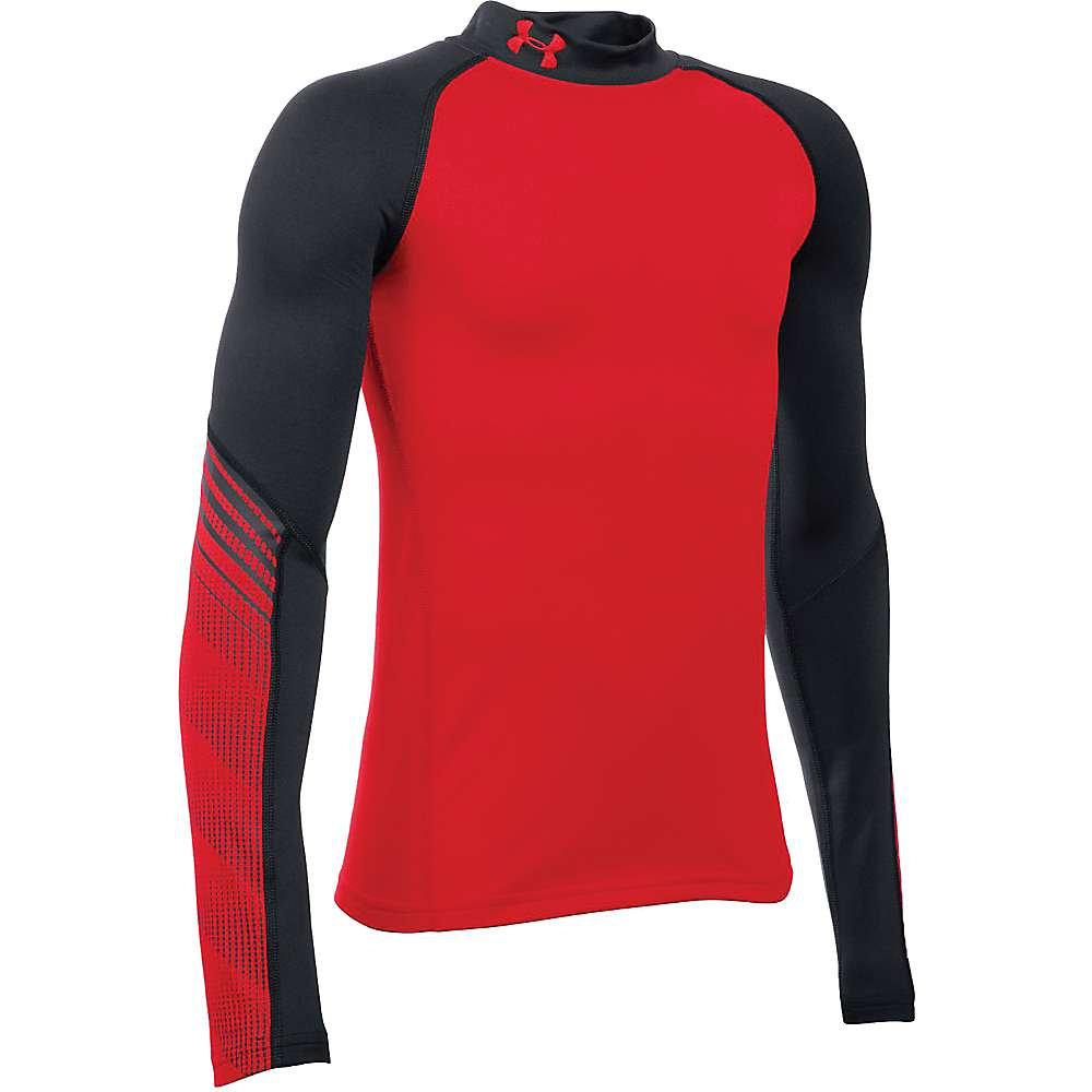Under Armour Boys' ColdGear Armour Up Mock Neck Top - XL - Red / Black / Red