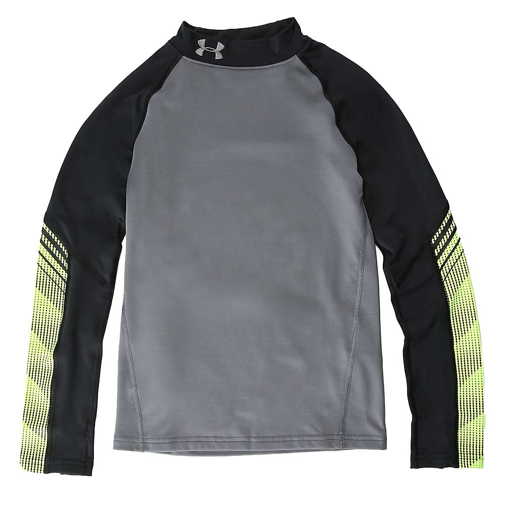 Under Armour Boys' ColdGear Armour Up Mock Neck Top - Large - Graphite / Black / Graphite