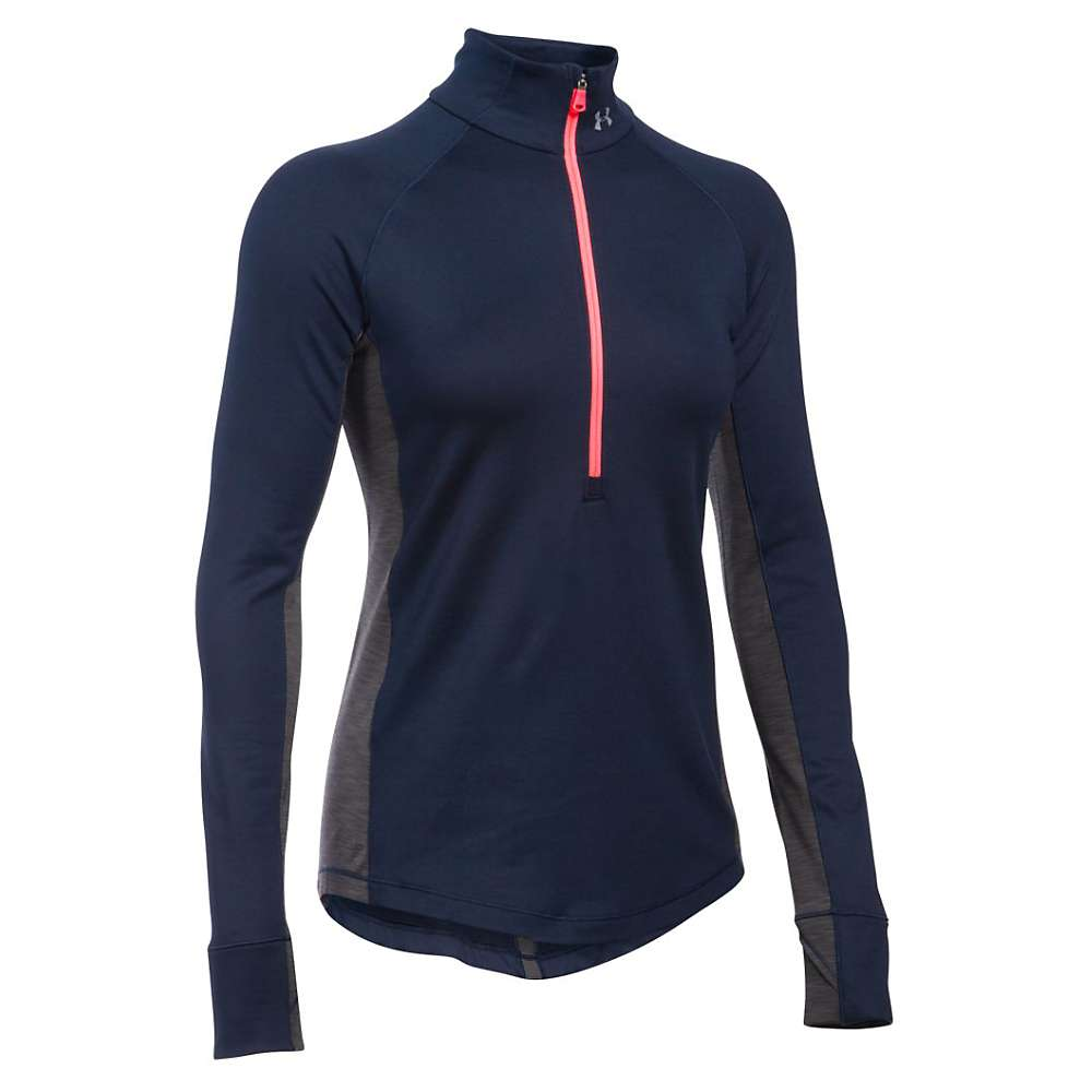 Under Armour Women's UA ColdGear Armour 1/2 Zip Top - XS - Midnight Navy / Carbon Heather / Metallic Silver