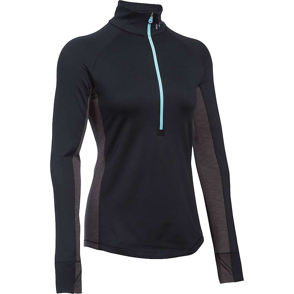 Under Armour Women's UA ColdGear Armour 1/2 Zip Top - Large - Black / Carbon Heather / Metallic Silver