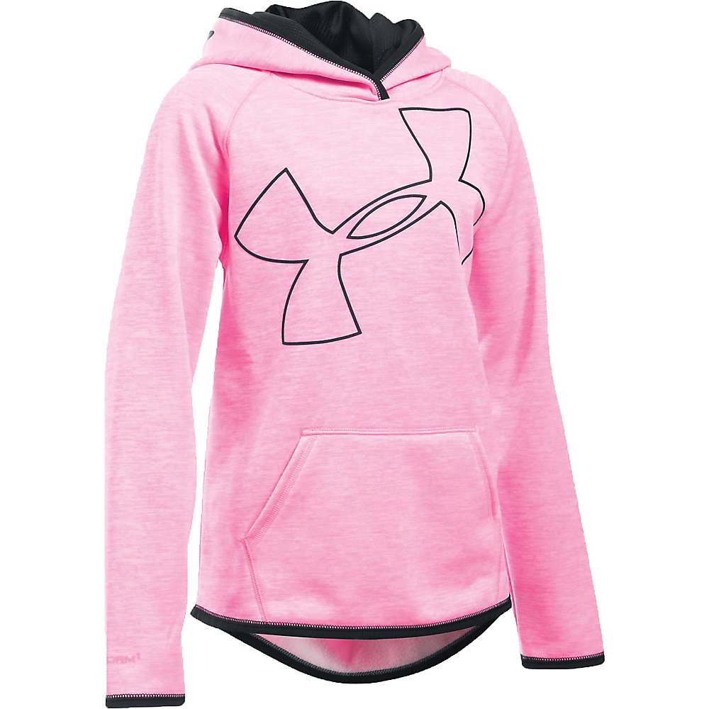 Under Armour Girls' UA Storm Armour Fleece Novelty Big Logo Hoody - Small - Pink Punk / Black / Black