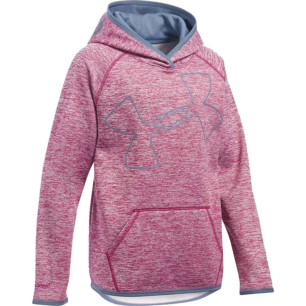 Under Armour Girls' UA Storm Armour Fleece Novelty Big Logo Hoody - XL - Black Cherry / Aurora Purple / Aurora Purple