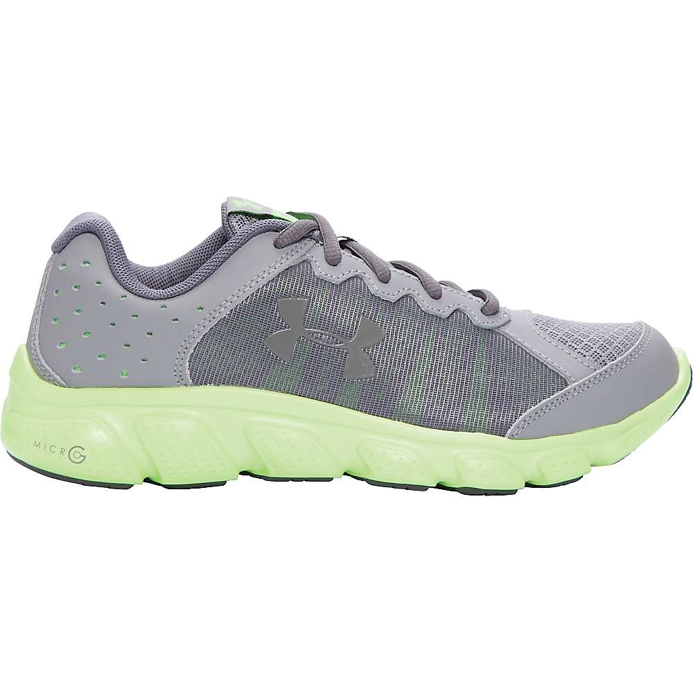 Under Armour Boys' UA BGS Micro G Assert 6 Shoe - 6 - Steel / Limelight / Graphite
