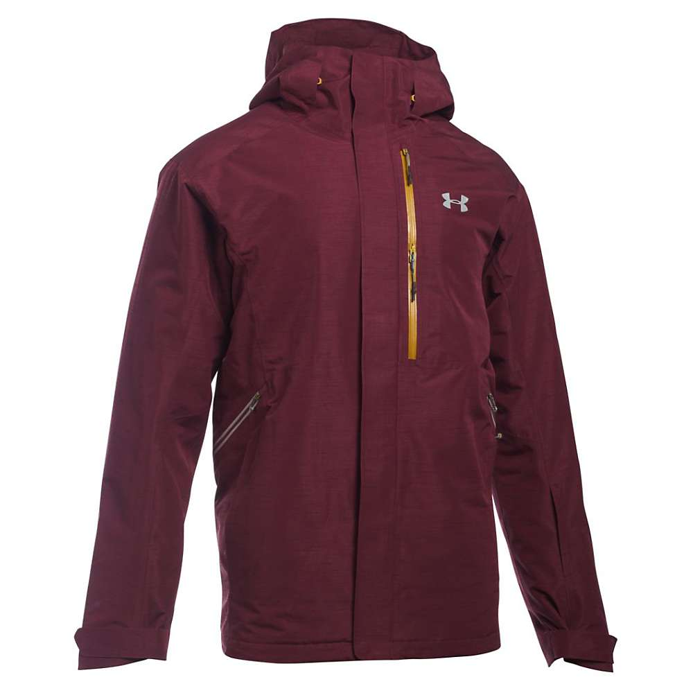 Under Armour Men's UA ColdGear Infrared Revy Insulated Jacket - Medium - Dark Maroon / Gold Ore / Overcast Grey