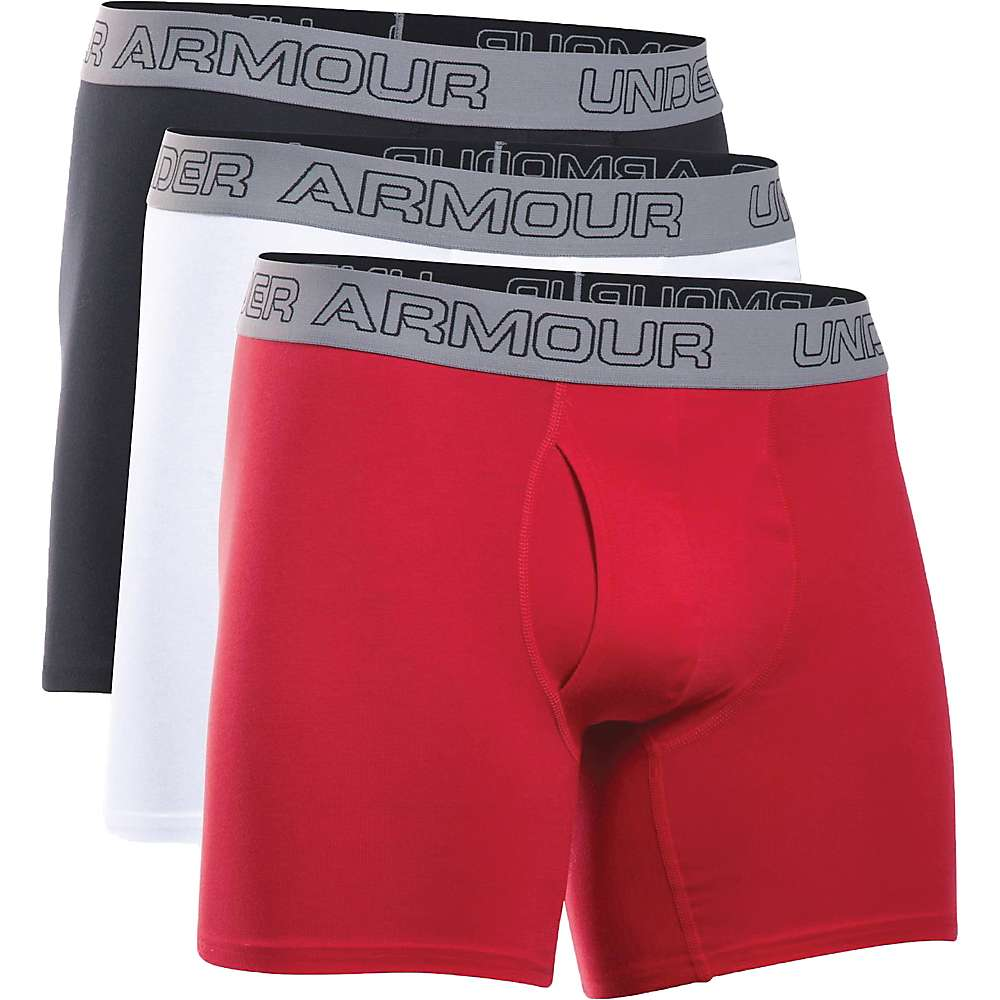 Under Armour Men's Cotton Stretch 6IN Boxer Short - 3 Pack - XXL - White / Red / Black