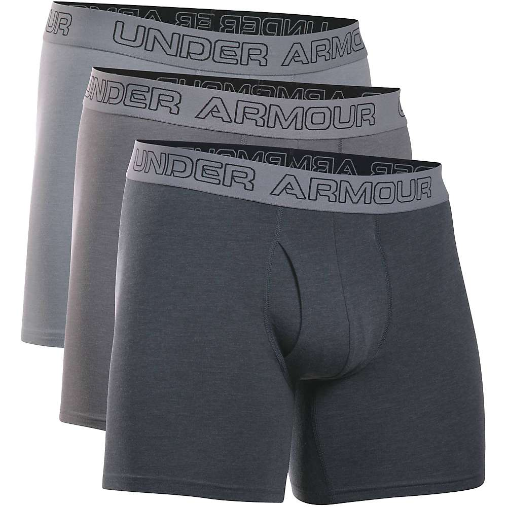 Under Armour Men's Cotton Stretch 6IN Boxer Short - 3 Pack - XL - Steel / Graphite / Anthracite