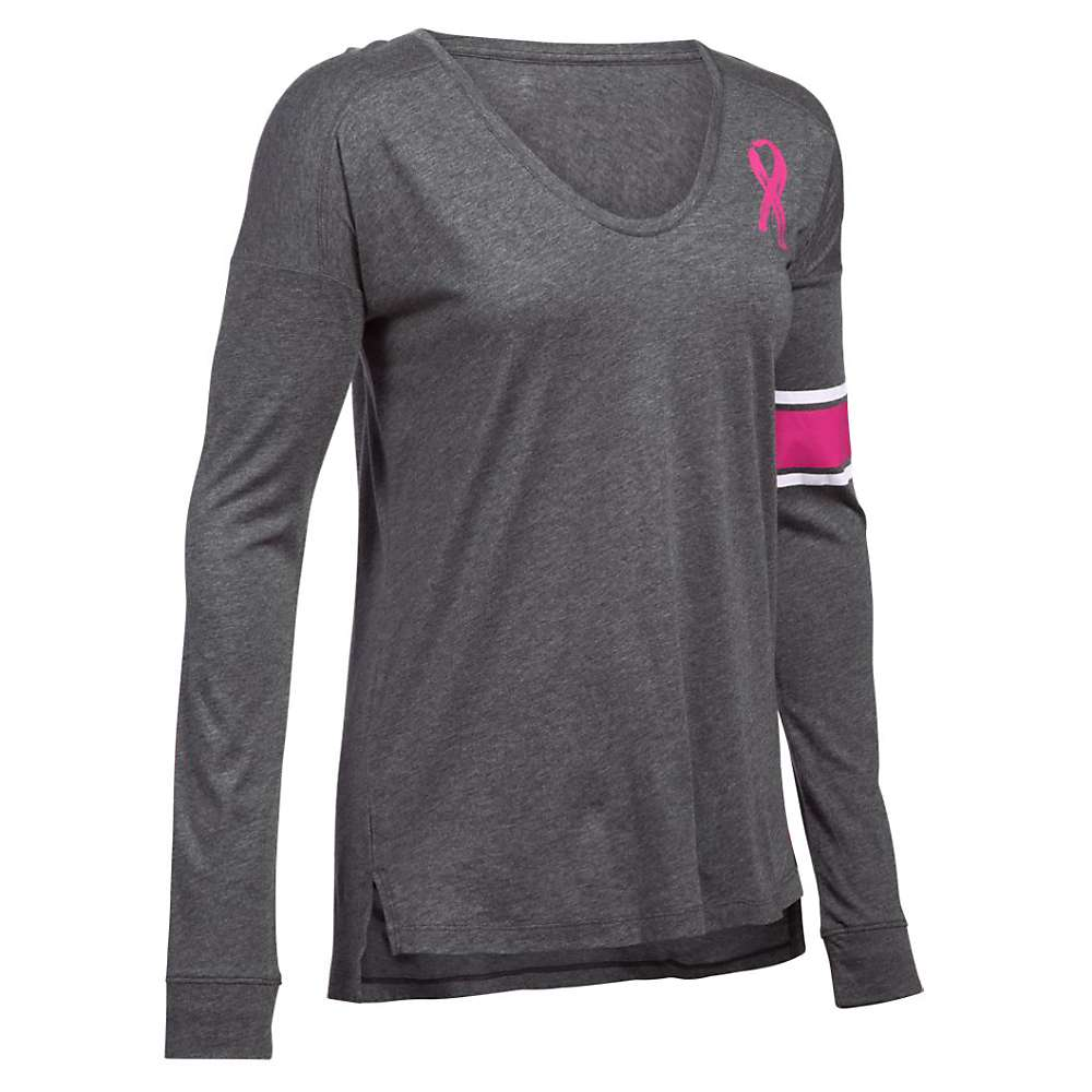 Under Armour Women's Favorite CM PIP LS Top - XS - Carbon Heather / White / Tropic Pink