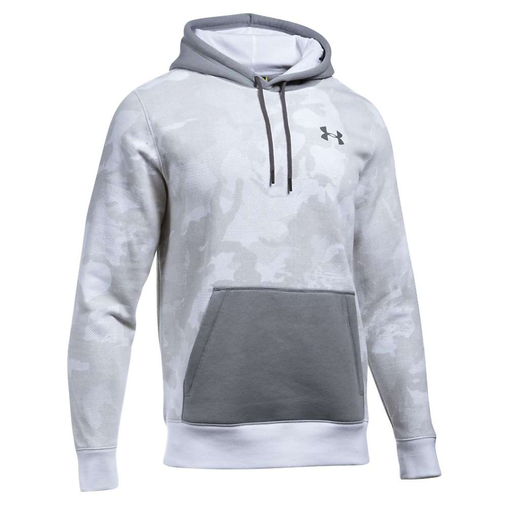 Under Armour Men's Rival Printed Pullover Hoodie - Medium - White / Steel / Graphite